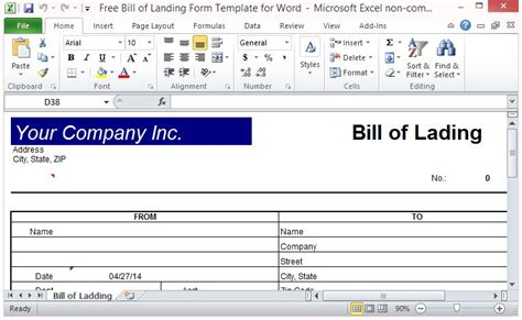 Free Bill Of Lading Form Template For Excel Free Bill Of Lading Template