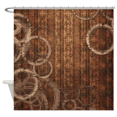 punk shower curtains steunk gears and wallpaper shower curtain by