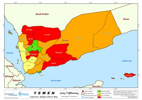 printable map of yemen yemen logistics supply chain map as of 25 apr 2012