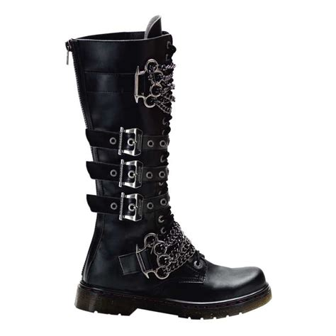 Sepatu Pria Kickers Zipper Boots Scop Leather vegan leather boots buckle and chains
