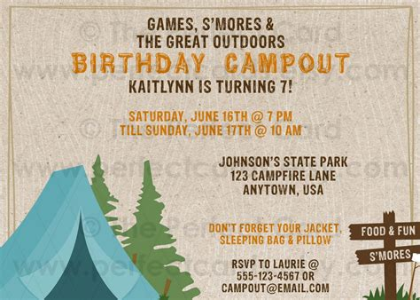 camp out invitations printable free campout camping birthday invitation camping theme