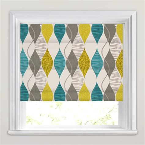 yellow patterned roller blinds retro teal golden yellow grey cream patterned roman blinds