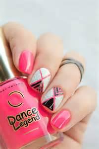 Black and Neon Pink Nail Art Designs
