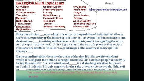 Multi Topic Essay For Fa by Ba Multi Topic Essay Lecture By Shahid Bhatti