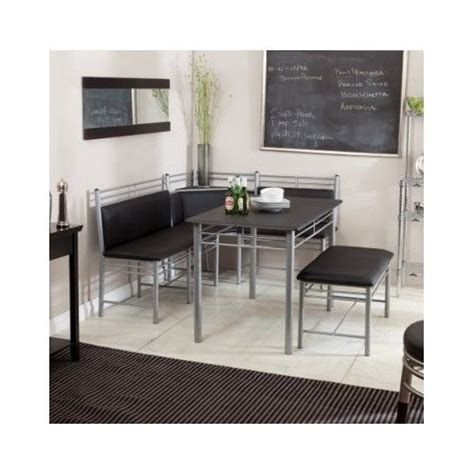 Kitchen Table Nook Dining Set Corner Breakfast Nook Modern Kitchen Dining Set Table Bench Metal Booth Black Ebay