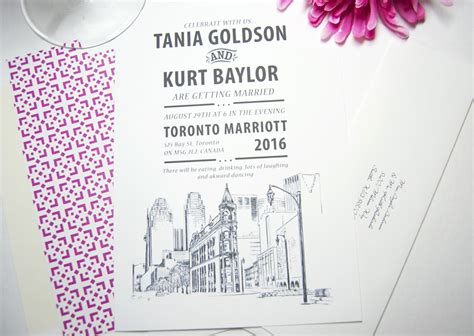Wedding Invitation Paper Toronto by Toronto Skyline Wedding Invitations