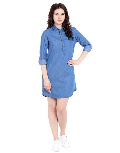 Blue Denim Fifth Sleeve S M L Dress 31589 blue silky denim sleeve shirt dress genration