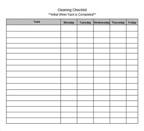 Excel Checklist Template Free by Blank Checklist Template 9 Free Document In