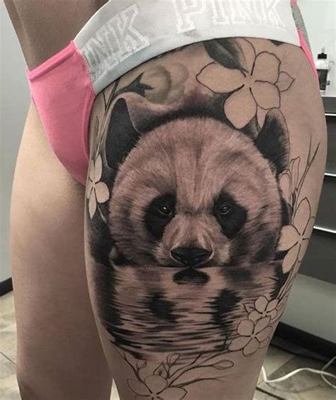 panda tattoo on thigh gorgeous b g panda thigh piece artist ig adansanchez