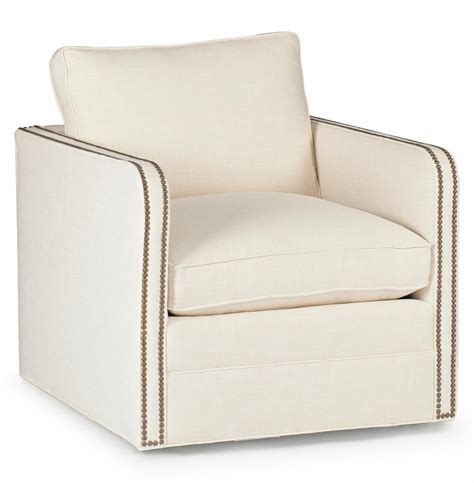 Reeves Classic Ivory Linen Upholstered Swivel Arm Chair Upholstered Swivel Chair