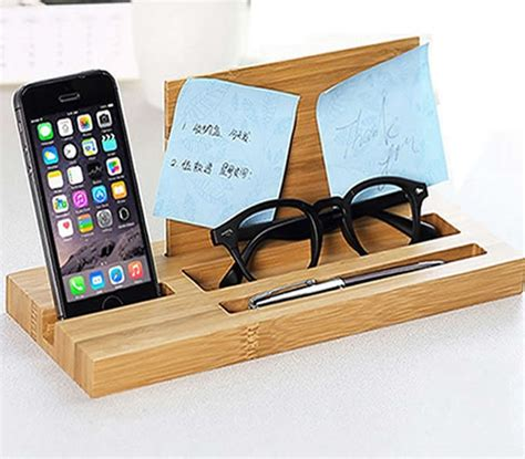 desk phone stand organizer bamboo wood office desk organizer mobile phone stand
