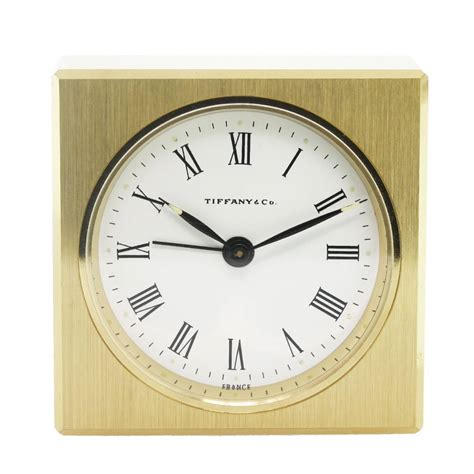 Desk Alarm Clock | tiffany co solid brass square alarm desk table clock