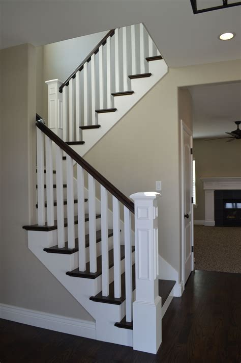 wood stair case open railing with hardwood stairs we love how the dark