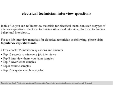 electrical technician questions
