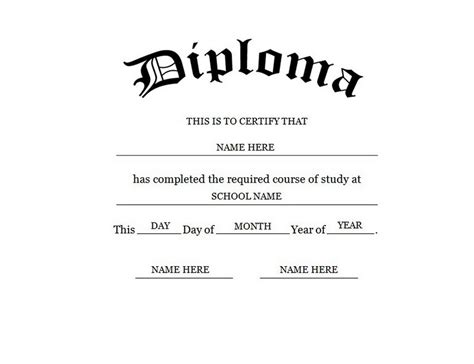 Blank High School Diploma Template Free Printables Degree Template