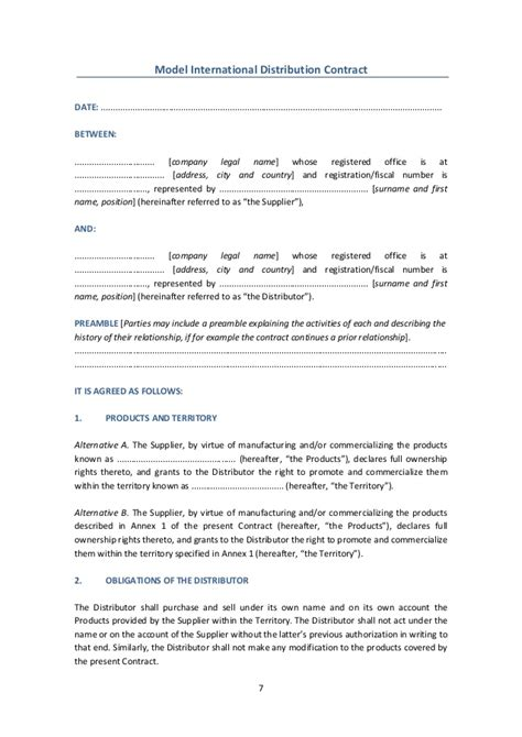 international distribution agreement template international contracts models