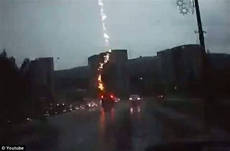 Bolt Of Lightning Hits Car Moment Driver Is Struck By Lightning As He Drives