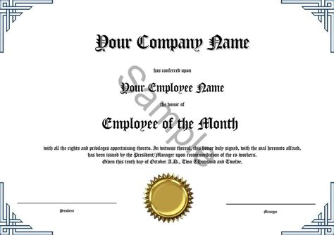 Employee of the Month Certificate * Novelty * Diploma   eBay