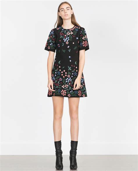 Promo Hm Floral Pastel Dress zara embroidered dress in black lyst