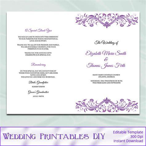 Wedding Font Openoffice by Purple Wedding Program Booklet Template Diy Wisteria