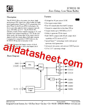 integrated circuit number lookup ics9112 18 datasheet pdf integrated circuit systems
