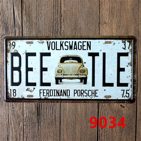 vintage car auto vehicle metal panel sign tin art wall 15 30 cm vlokswagen vintage cars metal signs decorative