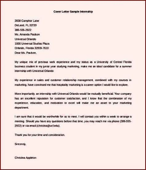 cover letter for undergraduate cover letter template for internship for student sle