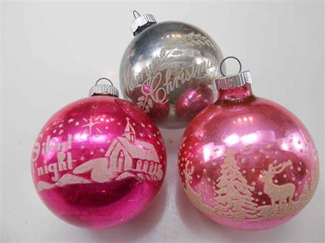 shiny brite vintage ornaments shiny brite stencil ornament trio vintage by