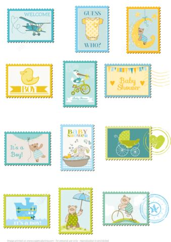 Baby Shower Paper Crafts - printable baby shower postage sts free printable