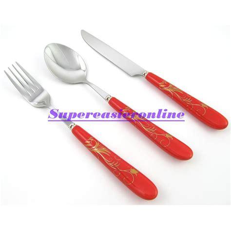 Panci Set Ceramic Dessini 3in1 2017 stainless steel fork spoon knife ceramic handle gold flower pattern 3in1 dinnerware