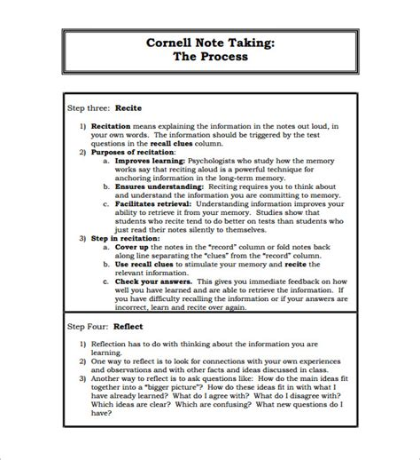 format footnote line cornell notes template 51 free word pdf format