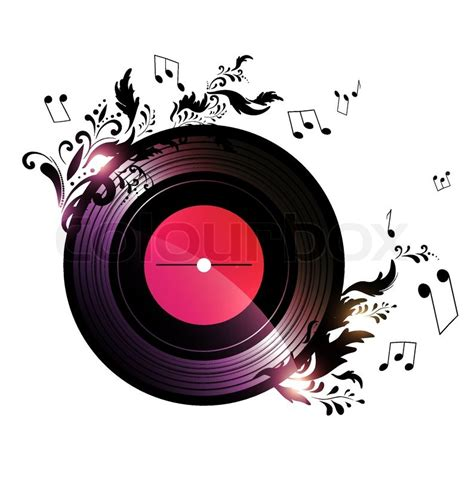 vinyl record with floral music decoration stock vector