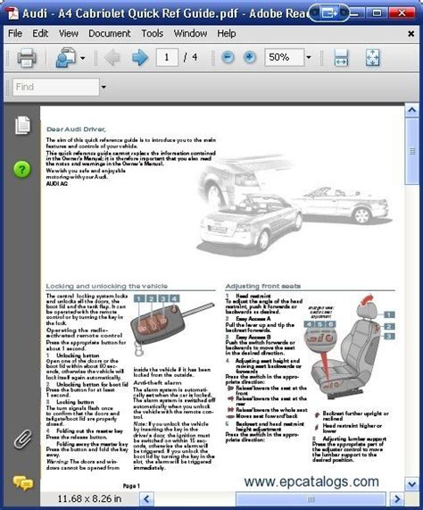 Audi A4 Cabriolet Quick Guide Workshop Manual Download