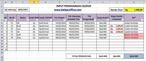 membuat form input tanggal di excel membuat aplikasi rental cd dvd rumus excel
