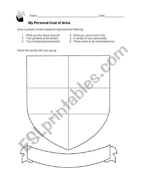 my personal coat of arms esl worksheet by bbadberg
