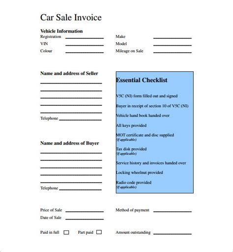 Used Car Sales Invoice Template Uk Invoice Exle Car Sale Receipt Template Word