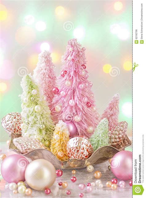 pastel colored christmas trees stock photo image