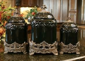 Black Ceramic Canister Sets Kitchen by Black Onyx Drake Design Canister Set Kitchen Tuscan