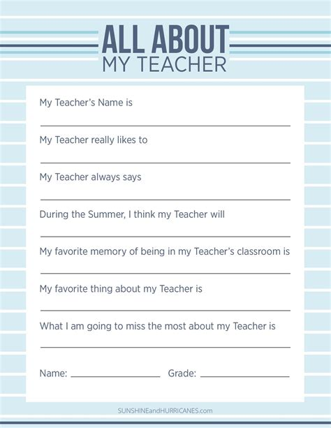 printables for teachers appreciation week questionnaire a personalized