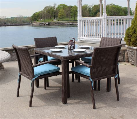Outdoor Patio Dining Furniture Wicker Patio Dining Set Of 5 Brown