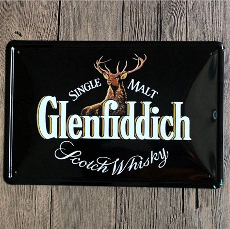 metal signs home decor single malt glenfiddich whiskey vintage home decor shabby