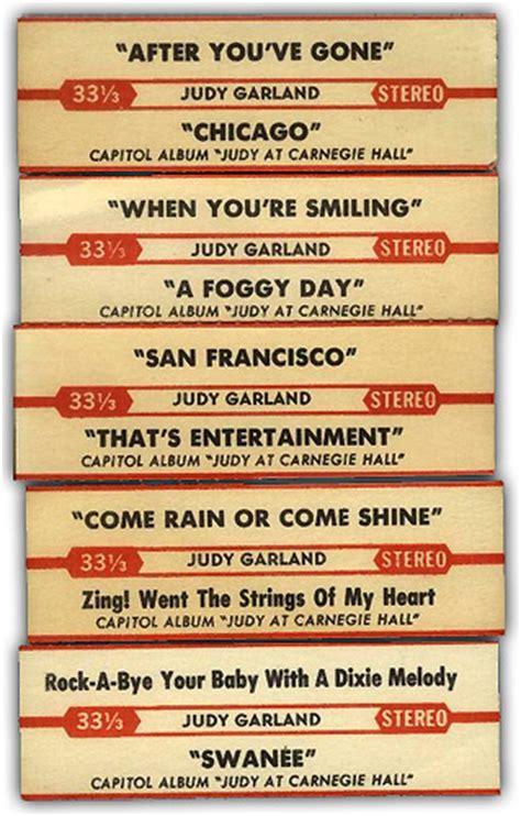 printable jukebox labels judy garland discography judy at carnegie hall