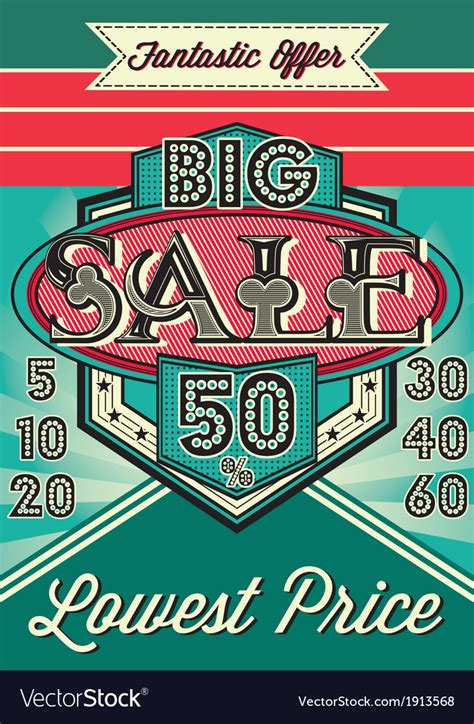Free Vintage Poster Templates by Template Vintage Poster For The Big Sale Vector Image