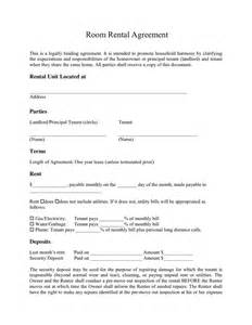 One Page Rental Agreement Template by Room Rental Agreement In Word And Pdf Formats