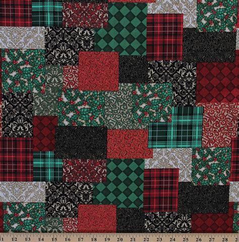 cotton christmas elegance patchwork  holiday cotton fabric print   yard zd