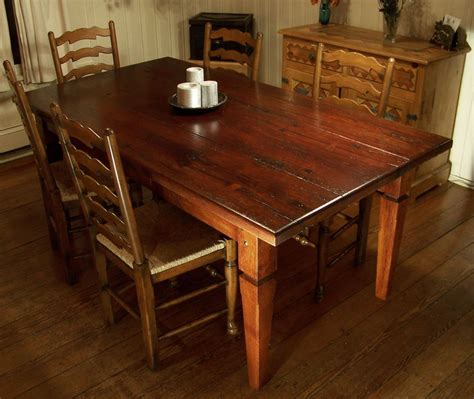 Dining Room Wood Tables Heirloom Workshops Reclaimed Wood Dining Table Tapered Legs Planked Top Furniture