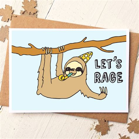 Sloth Birthday Cards Funny Friend Card Sloth Card Funny Birthday Card