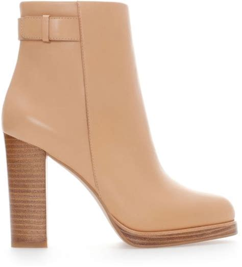 zara leather ankle boot with in pink lyst