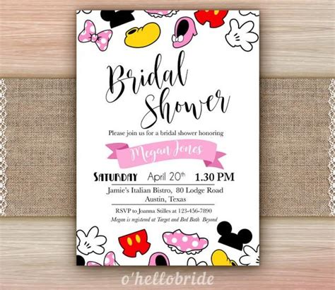 Printable Disney Baby Shower Invitations by Disney Theme Bridal Shower Invitation Printable Disney
