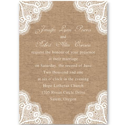 Burlap And Lace Template Lace And Burlap Wedding Invitations Template Best Template Collection